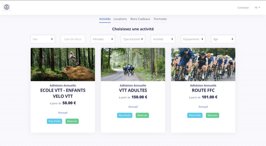 gestion catalogue d'activités Sertizh sports loisirs
