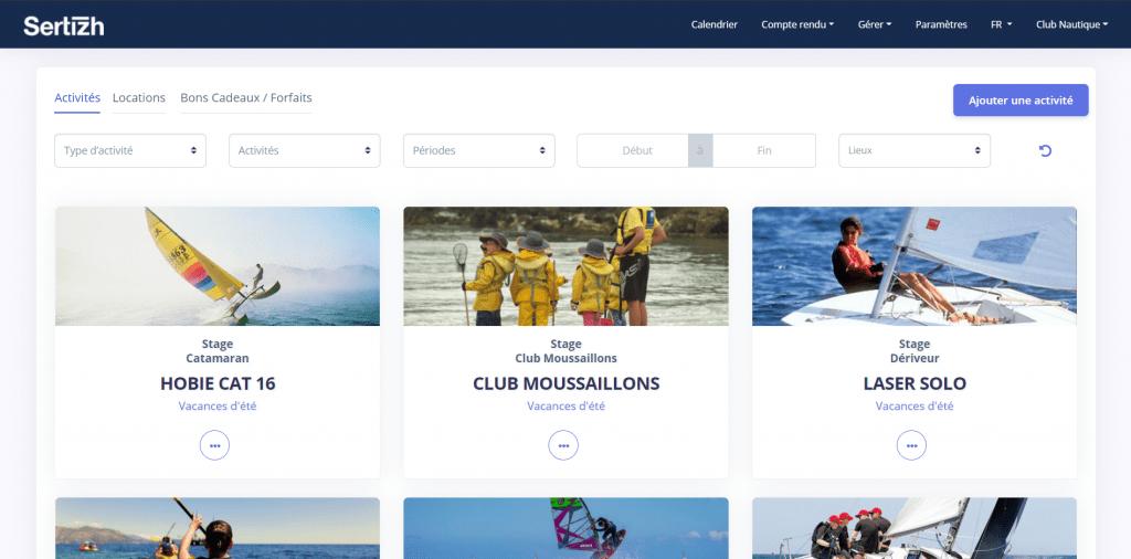 site e-commerce Sertizh sports loisirs